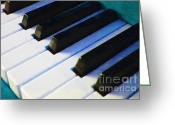 Collectibles Greeting Cards - Piano Keys . v2 . Blue Greeting Card by Wingsdomain Art and Photography