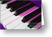 Classical Music Art Greeting Cards - Piano Keys . v2 . Purple Greeting Card by Wingsdomain Art and Photography
