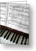 Lacquer Greeting Cards - Piano Keys Greeting Card by Carlos Caetano