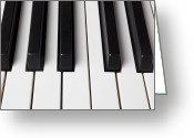 Pianos Greeting Cards - Piano keys close up Greeting Card by Garry Gay