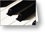 Keys Drawings Greeting Cards - Piano Keys Greeting Card by Jeanne Delage