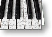 Composing Greeting Cards - Piano keys jigsaw Greeting Card by Garry Gay