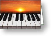 Orange Greeting Cards - Piano sunset Greeting Card by Garry Gay