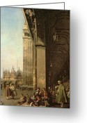 Basilica San Marco Greeting Cards - Piazza di San Marco and the Colonnade of the Procuratie Nuove Greeting Card by Canaletto