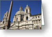 Church Greeting Cards - Piazza Navona. Navona Place. Church St. Angnese in Agona and egyptian obelisk. Rome Greeting Card by Bernard Jaubert