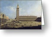 Basilica San Marco Greeting Cards - Piazza San Marco Venice  Greeting Card by Canaletto
