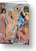 Standing Painting Greeting Cards - Picasso Demoiselles 1907 Greeting Card by Granger