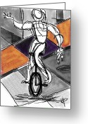Cubist Greeting Cards - Picasso Unicyclist Greeting Card by Russell Pierce
