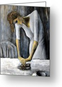 Ironing Painting Greeting Cards - Picassos Woman Ironing Greeting Card by Leonardo Ruggieri