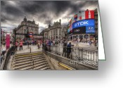 Busy City Greeting Cards - Piccadilly Circus - London Greeting Card by Yhun Suarez