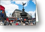 Eros Statue Greeting Cards - Piccadilly circus Greeting Card by Andrew  Michael