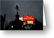 Raining Greeting Cards - Piccadilly Circus London  Greeting Card by Stefan Kuhn
