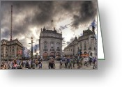Busy City Greeting Cards - Piccadilly Panorama Greeting Card by Yhun Suarez