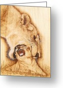 Framed Art Pyrography Greeting Cards - Pick Me UP Greeting Card by Roger Storey