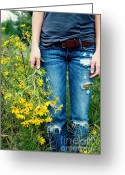 Young Lady Greeting Cards - Picking Flowers Greeting Card by Kim Fearheiley