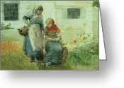 Picker Greeting Cards - Picking Flowers Greeting Card by Winslow Homer