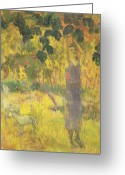 Gauguin; Paul (1848-1903) Greeting Cards - Picking Fruit from a Tree Greeting Card by Paul Gauguin