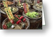 Street Vendor Greeting Cards - Pickled Vegetables Street Vendor - Kyoto Japan Greeting Card by Daniel Hagerman