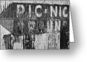 Devastation Greeting Cards - Picnic Ground monochrome Greeting Card by Steve Harrington
