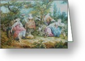 Girl Tapestries - Textiles Greeting Cards - Picnic in France Tapestry Greeting Card by Unique Consignment