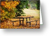 Natural Beauty Greeting Cards - Picnic table with autumn leaves Greeting Card by Elena Elisseeva