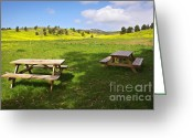 Empty Park Bench Greeting Cards - Picnic tables Greeting Card by Carlos Caetano