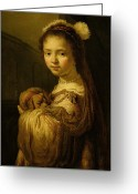 Pet Picture Greeting Cards - Picture of a Young Girl Greeting Card by Govaert Flinck