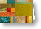 Contemporary Collage Greeting Cards - Pieces Project lV Greeting Card by Michelle Calkins