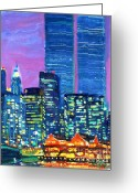 Center City Painting Greeting Cards - Pier 17 Summer NIght 2001 Greeting Card by Vladimir Kozma