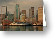 Seattle Waterfront Greeting Cards - Pier 54 Greeting Card by Dan Mihai