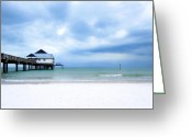 Surf Fishing Photo Greeting Cards - Pier 60 at Clearwater Beach Florida Greeting Card by Angela Rath