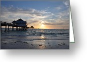 Tropical Sunset Greeting Cards - Pier 60 at Clearwater Beach Florida Greeting Card by Bill Cannon