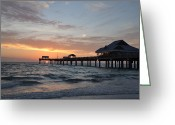 Florida Sunset Greeting Cards - Pier 60 Clearwater Beach Florida Greeting Card by Bill Cannon
