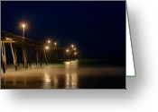 Hatteras Greeting Cards - Pier Greeting Card by Andreas Freund