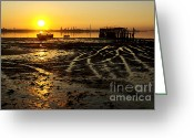 Pillar Greeting Cards - Pier at Sunset Greeting Card by Carlos Caetano