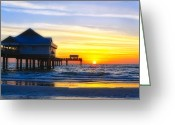 Ocean Scenes Greeting Cards - Pier  at Sunset Clearwater Beach Florida Greeting Card by George Oze