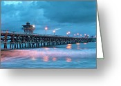 San Clemente Pier Greeting Cards - Pier in Blue Panorama Greeting Card by Gary Zuercher