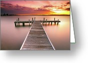 Tranquility Greeting Cards - Pier In Lake Macquarie At Sunset, Australia Greeting Card by Yury Prokopenko