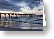 Panama City Beach Greeting Cards - Pier in the Evening Greeting Card by Sandy Keeton
