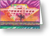 Landmarks Drawings Greeting Cards - PIER In The Pink Greeting Card by Sheree Rensel