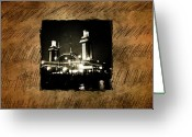 Retro-montage Greeting Cards - Pier One Greeting Card by Brian Helder