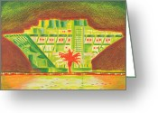Landmarks Drawings Greeting Cards - PIER Red Tree Greeting Card by Sheree Rensel