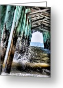 Ocean Scenes Greeting Cards - Pier Splash Greeting Card by Emily Stauring