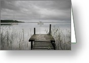 Moored Greeting Cards - Pier To Lacanau Lake Greeting Card by © Yannick Lefevre - Photography
