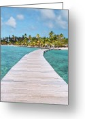Human Nature Greeting Cards - Pier To Tropical Island Greeting Card by Matteo Colombo