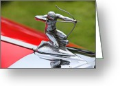 Hotrod Photo Greeting Cards - Piere-Arrow hood ornament Greeting Card by Garry Gay