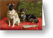 Hounds Greeting Cards - Pierette and Mifs Greeting Card by Charles van den Eycken