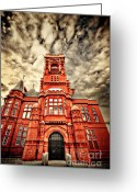 Bright Greeting Cards - Pierhead Greeting Card by Meirion Matthias