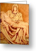 Art Museum Sculpture Greeting Cards - Pieta-After Michelangelo Greeting Card by Kevin Davidson