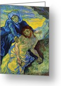 Pieta Painting Greeting Cards - Pieta Greeting Card by Pg Reproductions